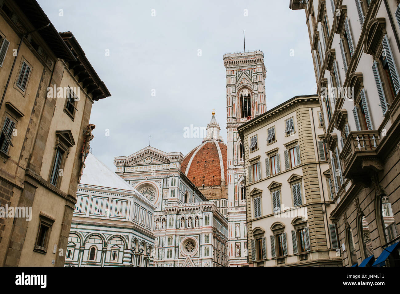 Famous Santa Maria del Fiore cathedral church with Baptistery in Florence - Stock Image