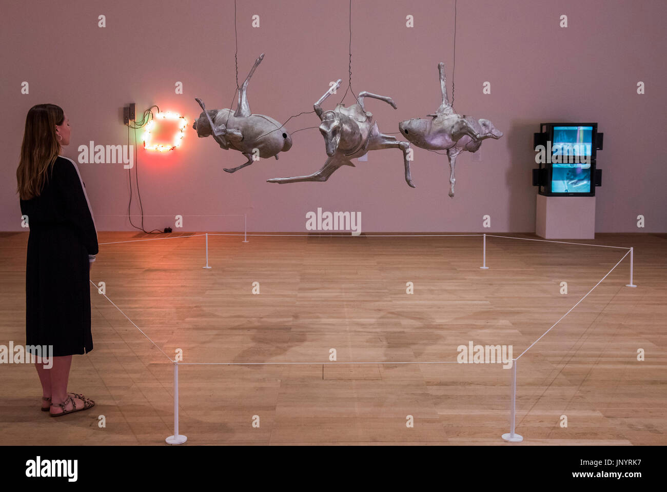 Untitled (Three large animals) 1989 - works by Bruce Nauman in the ARTIST ROOMS, a new exhibition, is at Tate Modern - Stock Image