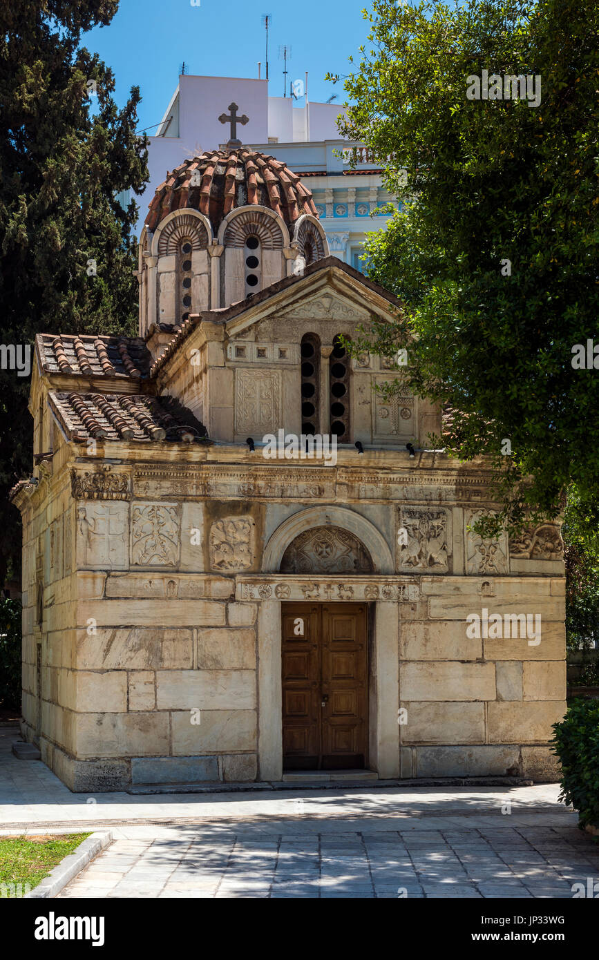 Church of Agios Eleftherios or Little Metropolis, Athens, Attica, Greece - Stock Image