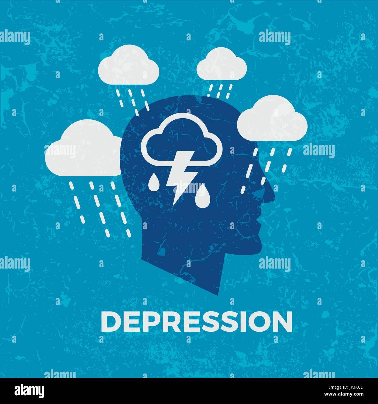 Depression. Concept vector illustration - Stock Image