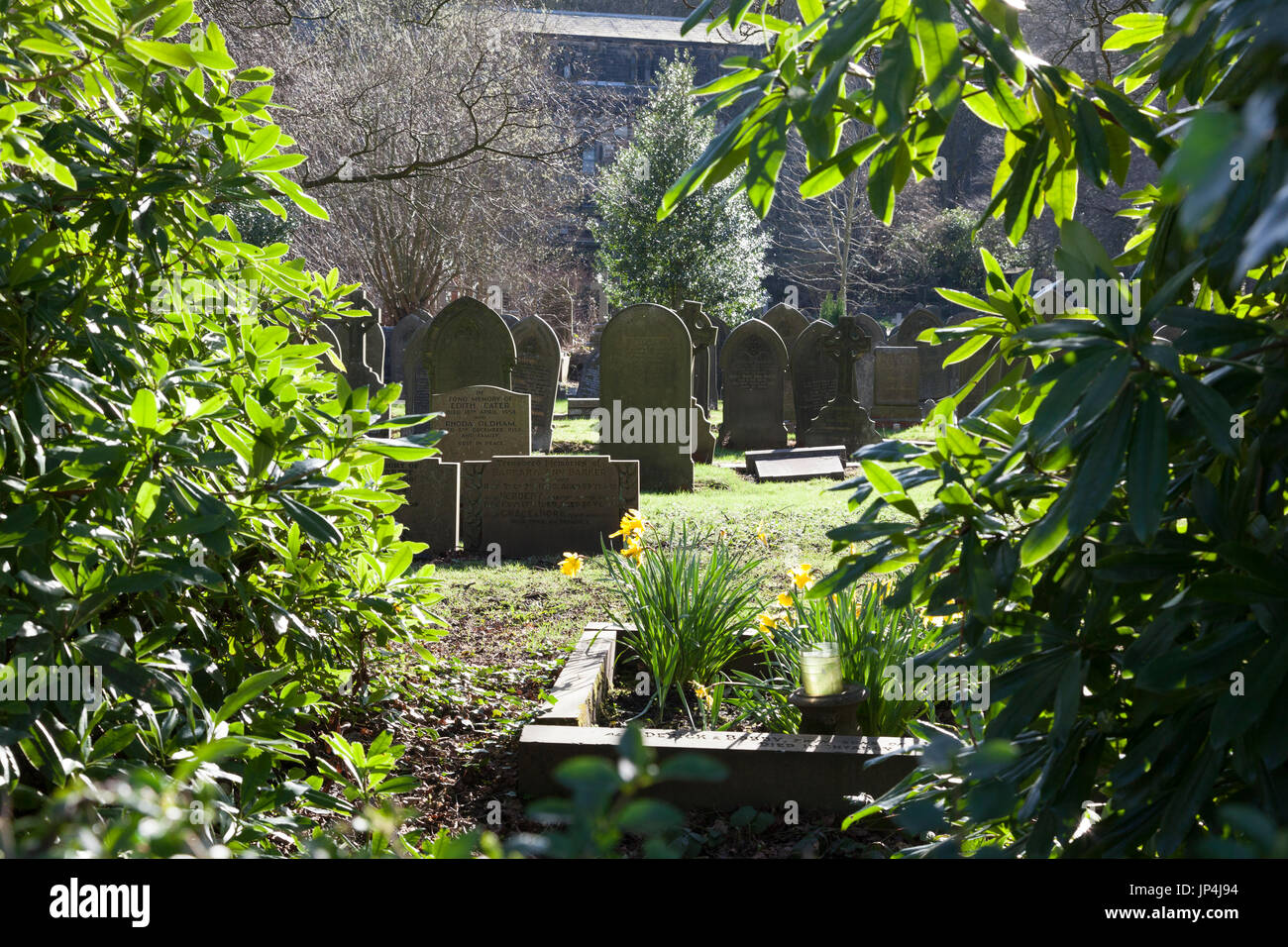 Graves in the cemetery, Todmorden, West Yorkshire - Stock Image