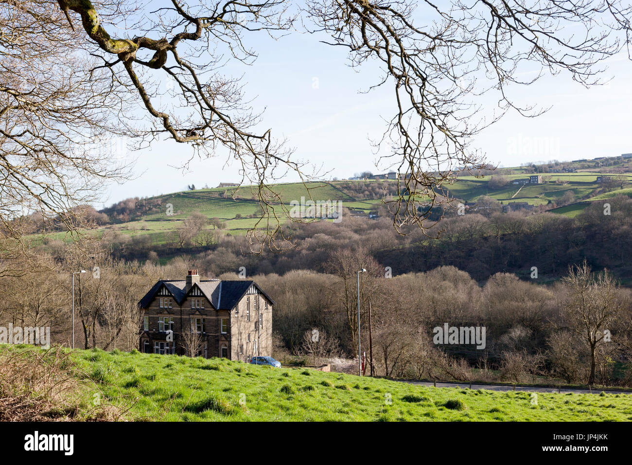 Large Victorian house in the countryside, Luddenden Foot, West Yorkshire - Stock Image