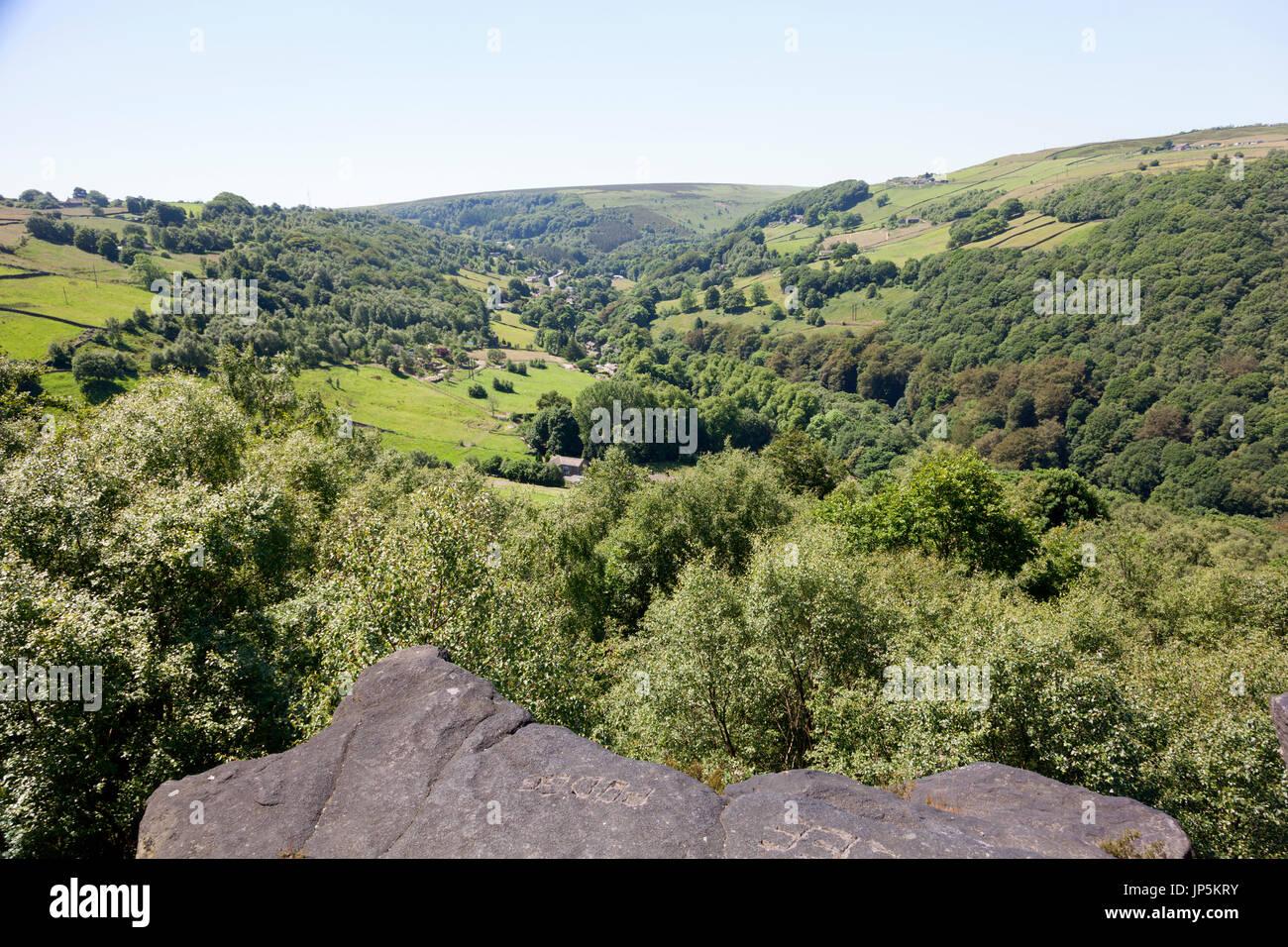 View over Cragg Vale, Mytholmroyd, west Yorkshire - Stock Image