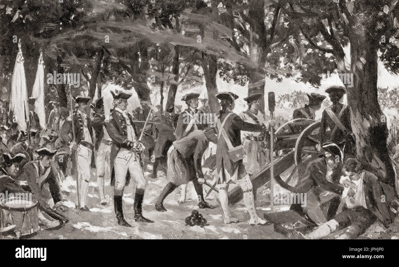 The Battle of Plassey, 23 June 1757 fought between the British East India Company and the Nawab of Bengal and his - Stock Image
