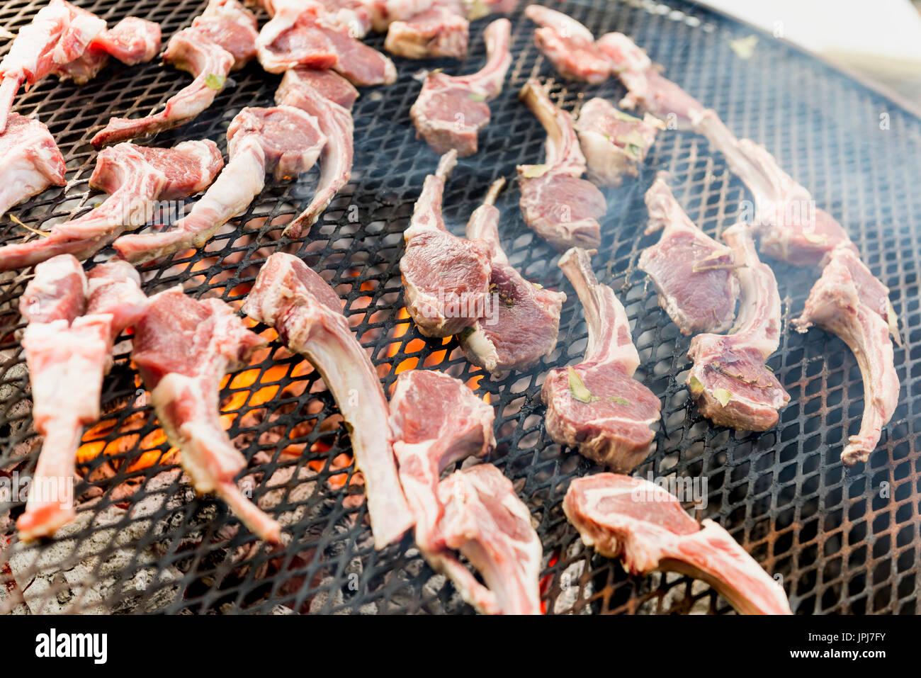 grilling lamb chops - Stock Image