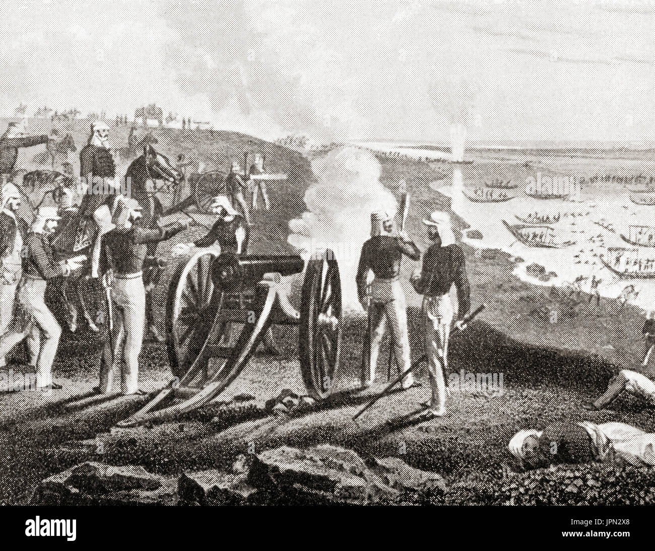 Vincent Eyre at the Siege of Arrah during the Indian Rebellion of 1857, seen here driving the mutineers into the - Stock Image