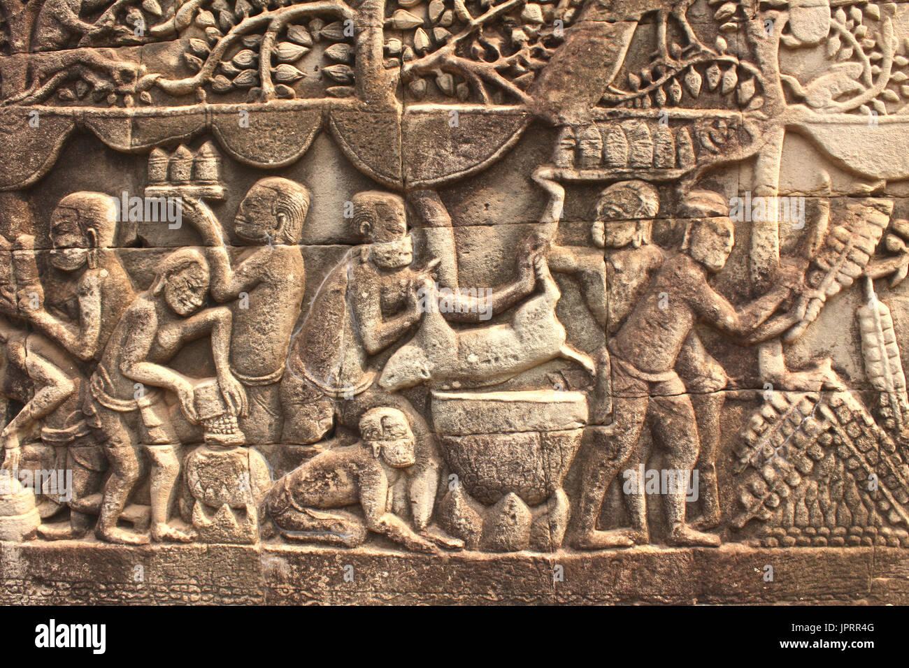 Cambodia close up sandstone relief carving stock photos