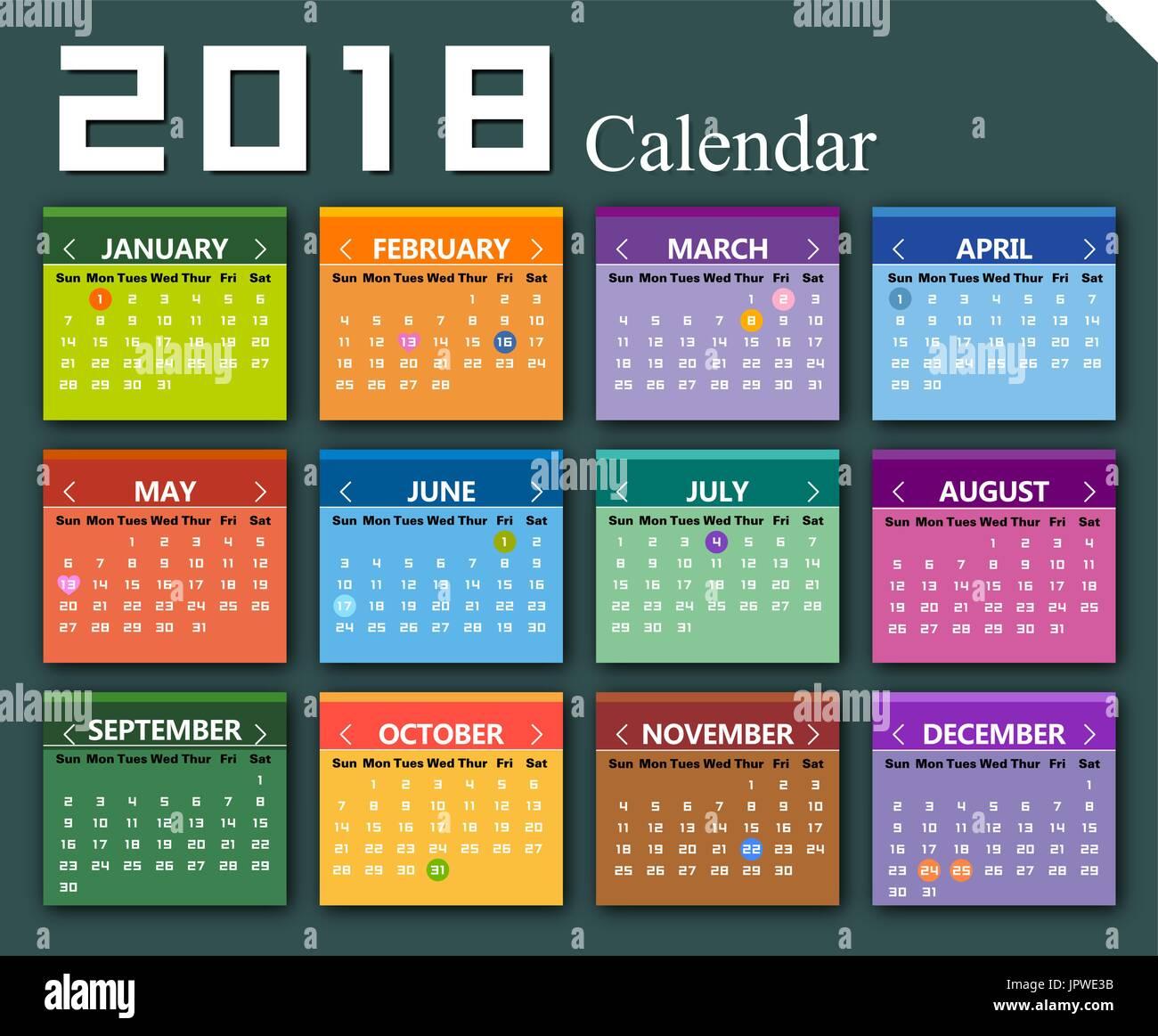 2018 Calendar Vector Stock Photos Amp 2018 Calendar Vector