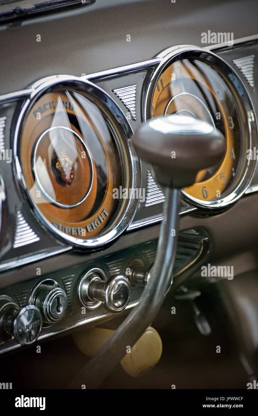 vintage packard super eight dashboard dials - Stock Image