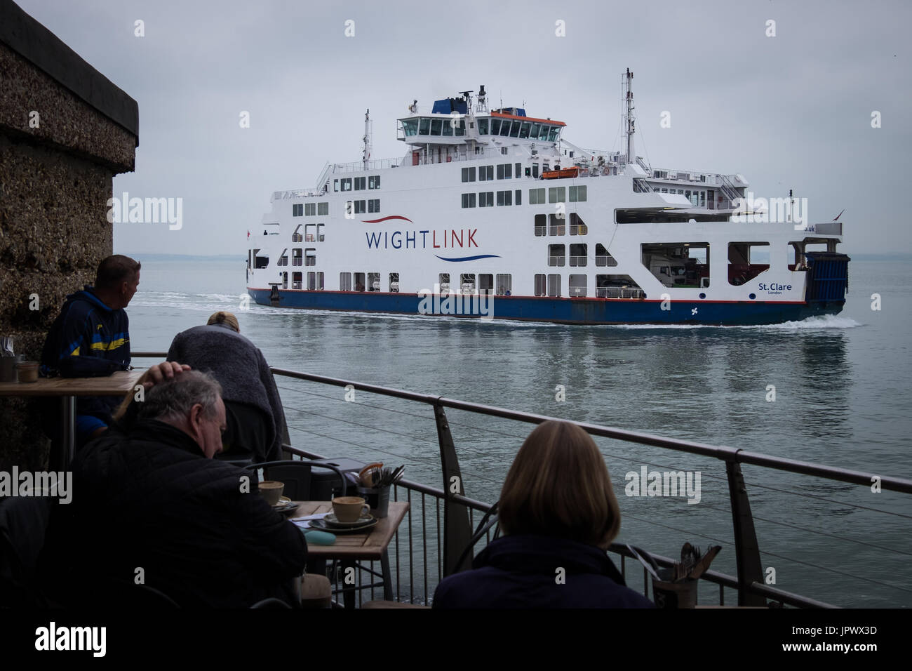 The Isle of Wight Car Ferry, St. Clare, entering Portsmouth Harbour - Stock Image