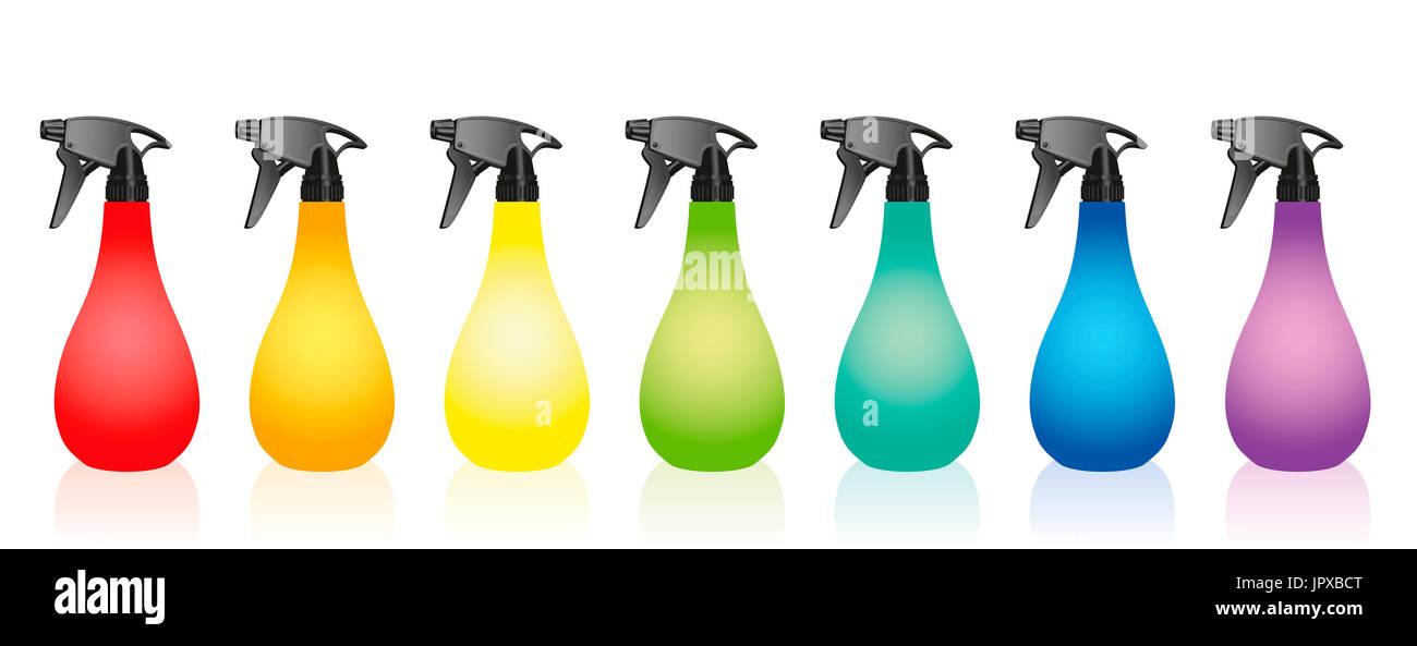 Spray bottles - colored set. - Stock Image