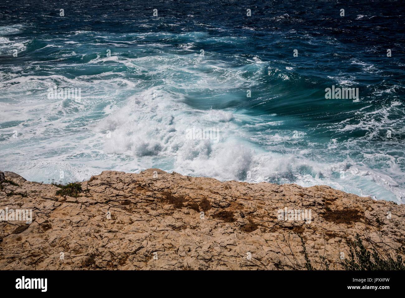 Powerful waves, Pula, Croatia - Stock Image