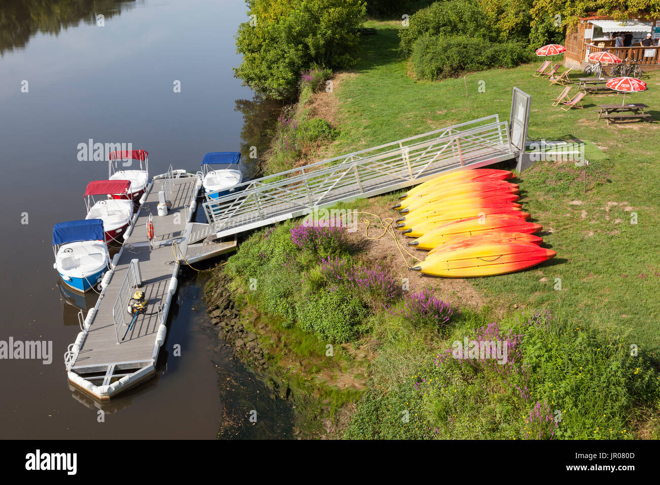 The mini nautical sports and recreation park on the river Adour, at Josse (France). It offers the opportunity to - Stock Image