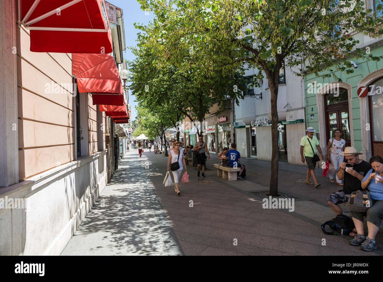 Shopping street in Pula, Croatia - Stock Image