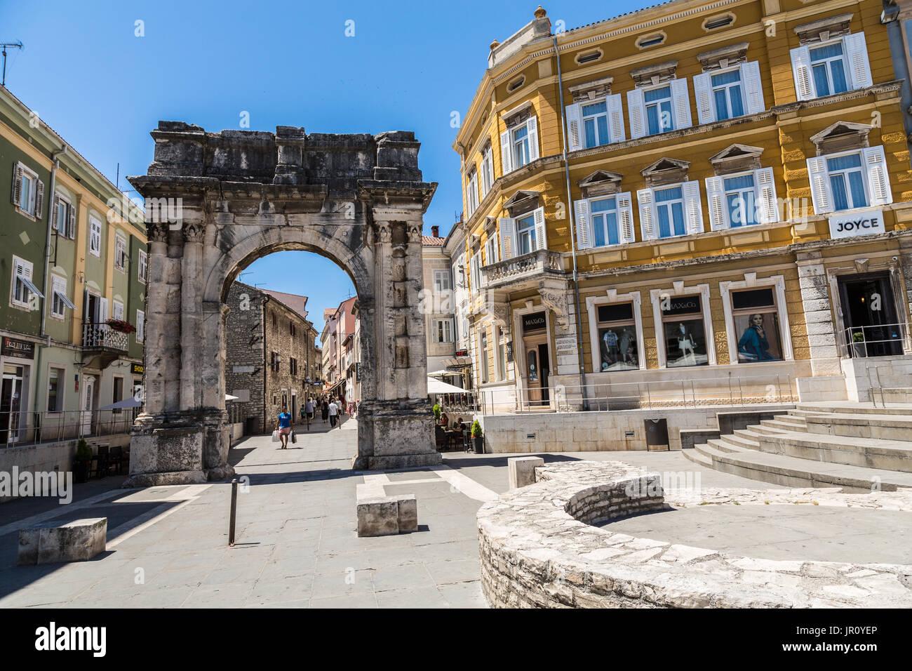 Pula, Croatia downtown architecture - Stock Image