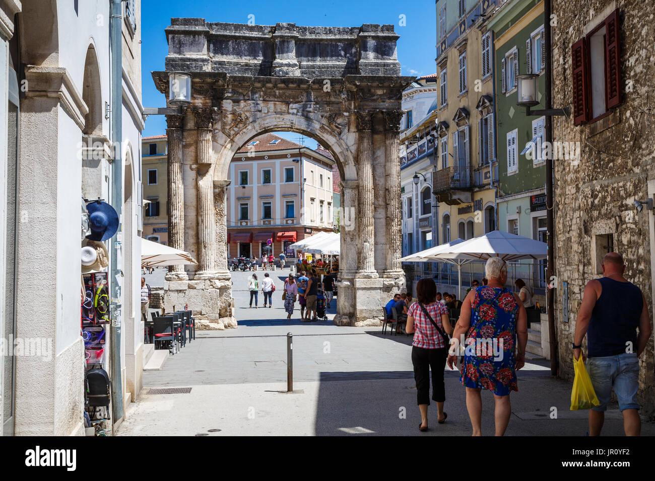 Pula, Croatia city center - Stock Image