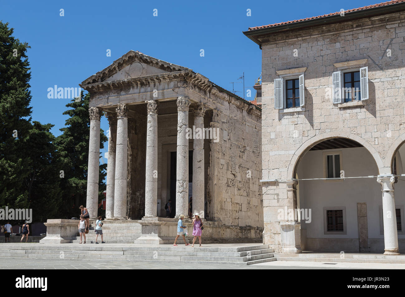 Pula Croatia.Temple of Romae & Augustus. - Stock Image