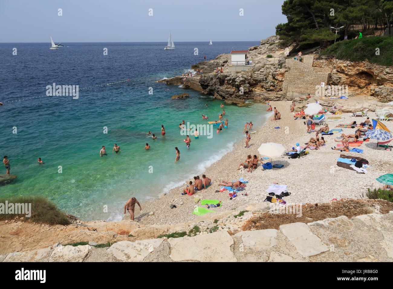 A beach in Verudela, Pula, Croatia - Stock Image