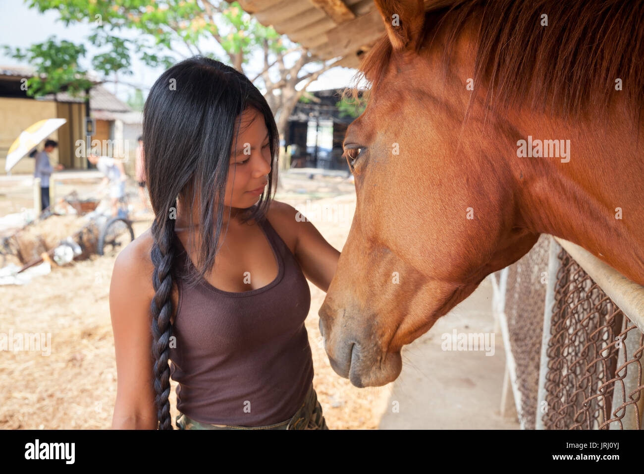 Horse face woman
