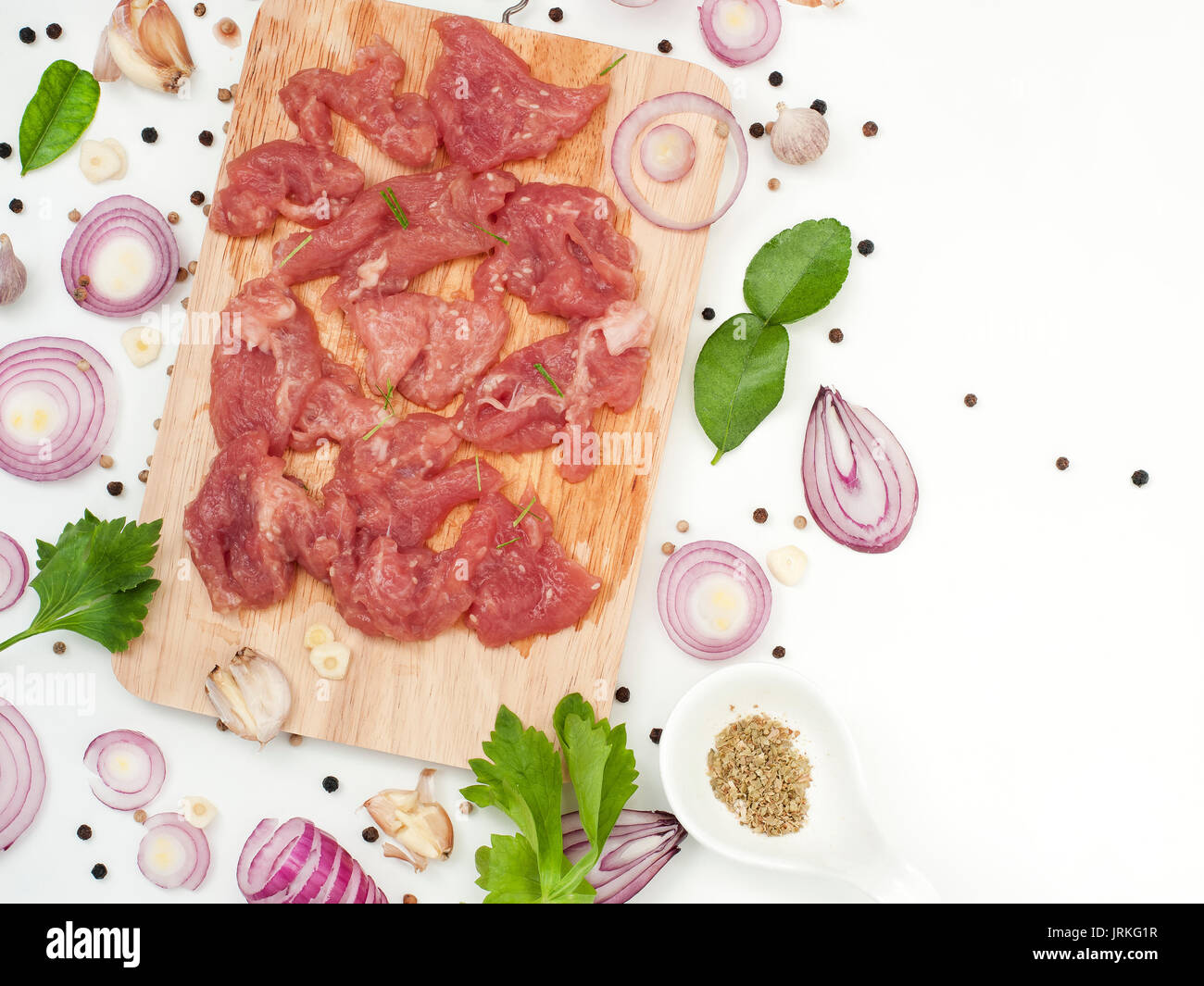 Herb marinated pork with sesame delicious and fragrance asian food style - Stock Image