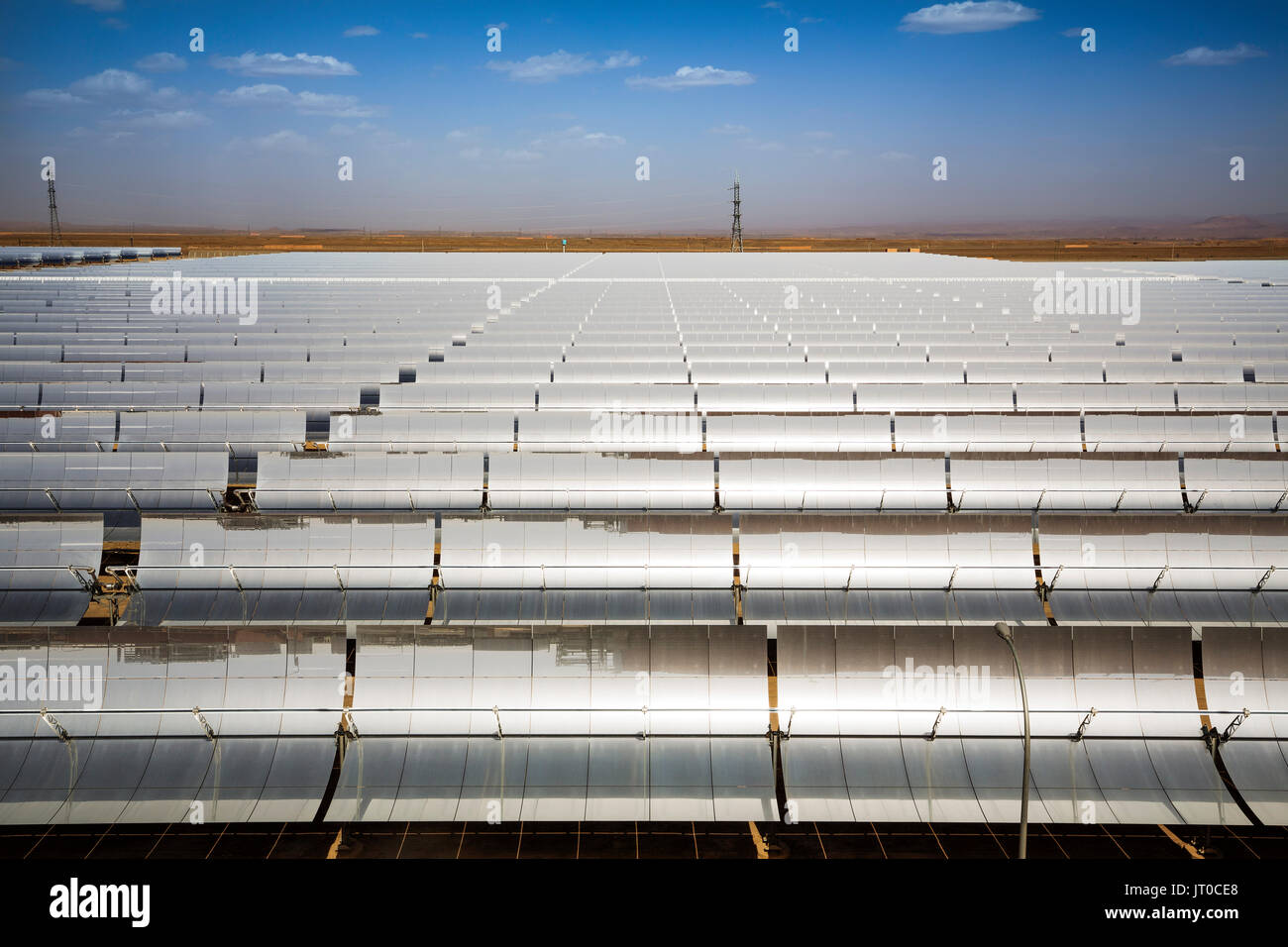 Solar thermal sustainable energy, Noor Ouarzazate Concentrated Solar Power Station Complex. Morocco, Maghreb North - Stock Image
