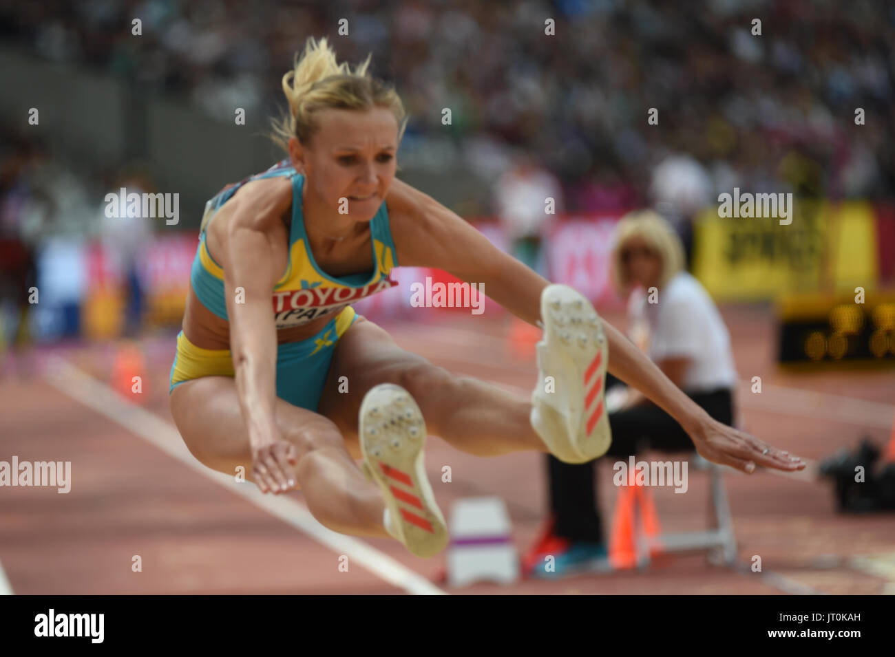 Olga RYPAKOVA, Kazakstan, at triple jump preliminary heat at London Stadium in London on August 5, 2017 at the 2017 - Stock Image