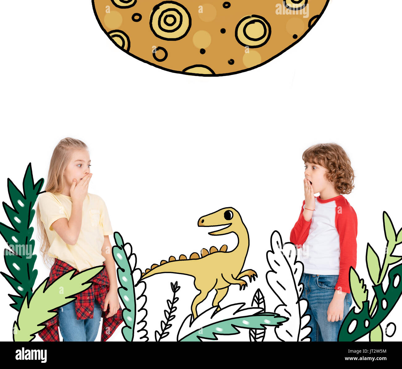 boy and girl scared by dinosaur - Stock Image