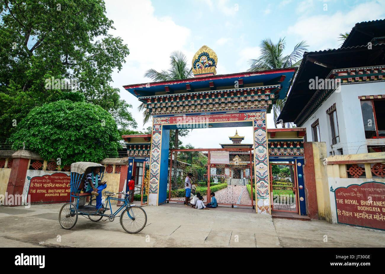 Bodh Gaya, India - Jul 9, 2015. Gate of Royal Bhutanese Monastery in Bodhgaya, India. Bodh Gaya has temples or monasteries - Stock Image