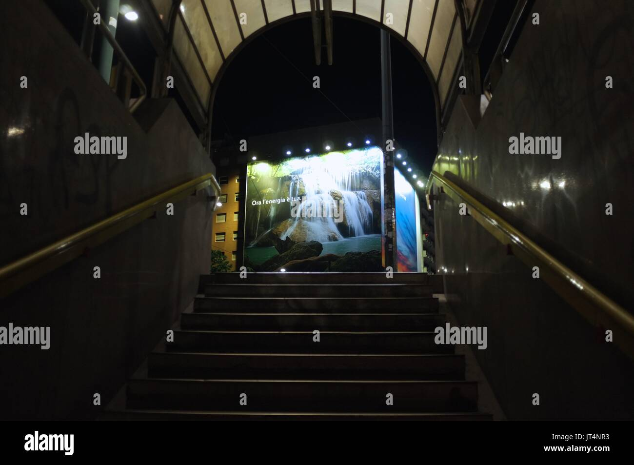 A billboard viewed from a metro station in Milan, Lombardy, Italy, July 2017 - Stock Image