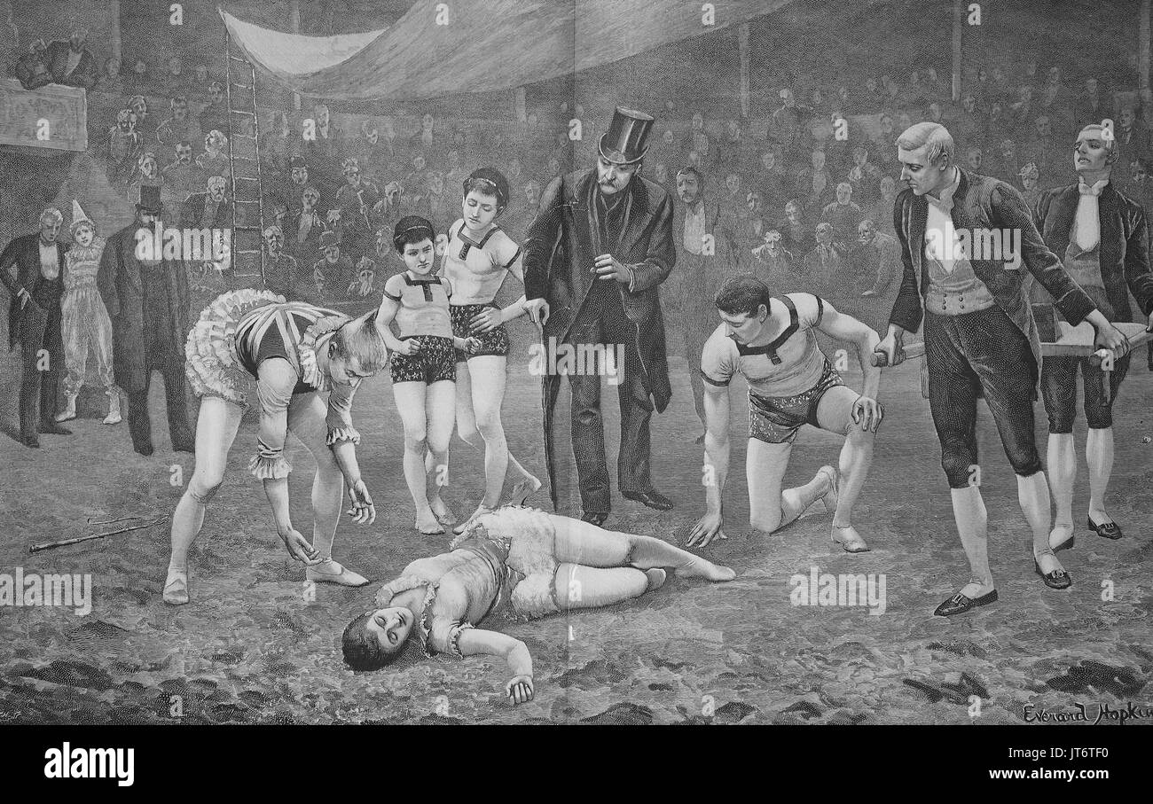 A circus tragedy, An artist has crashed and lies injured on the ground, Digital improved reproduction of an image - Stock Image