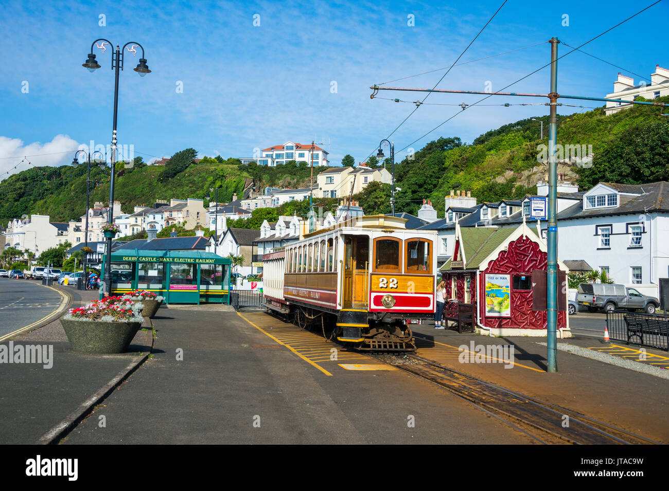 Old tram in Douglas, Isle of Man, crown dependency of the United Kingdom, Europe - Stock Image