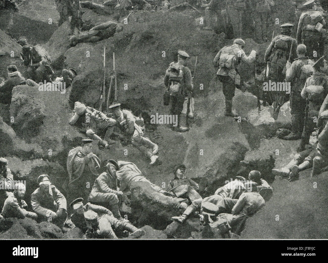 Aftermath of mine explosion in German trench - Stock Image