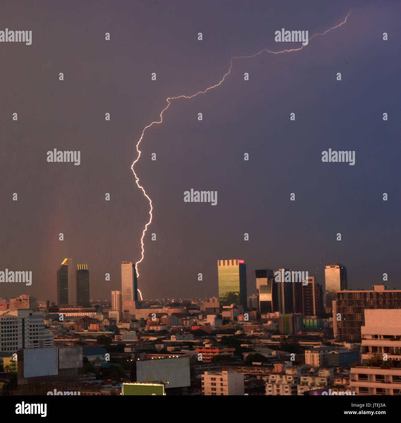 Urban View: Rain Thunder Lightning Stock Photos & Rain Thunder