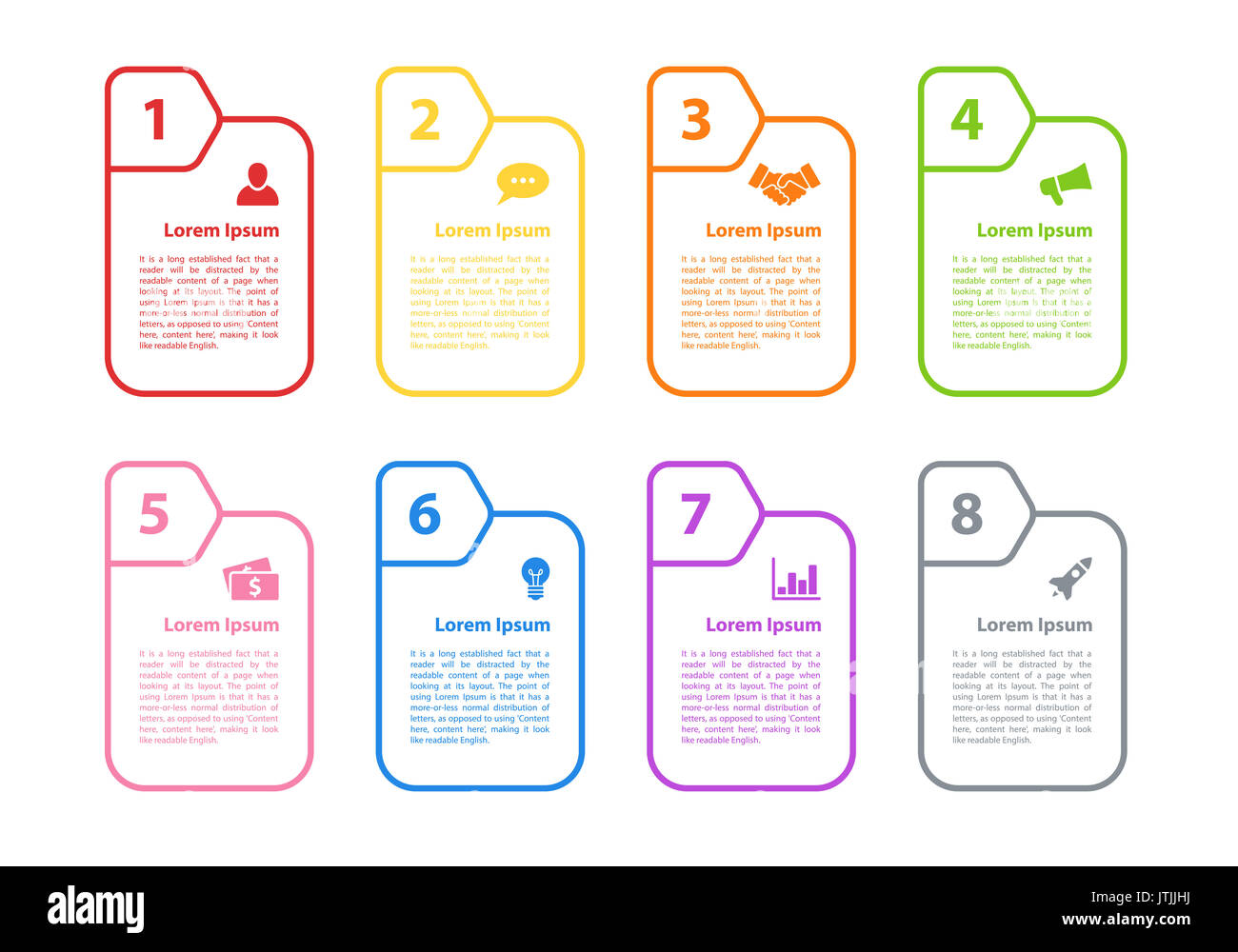 Infographic design business concept vector illustration with 8 steps or options or processes represent workflow - Stock Image