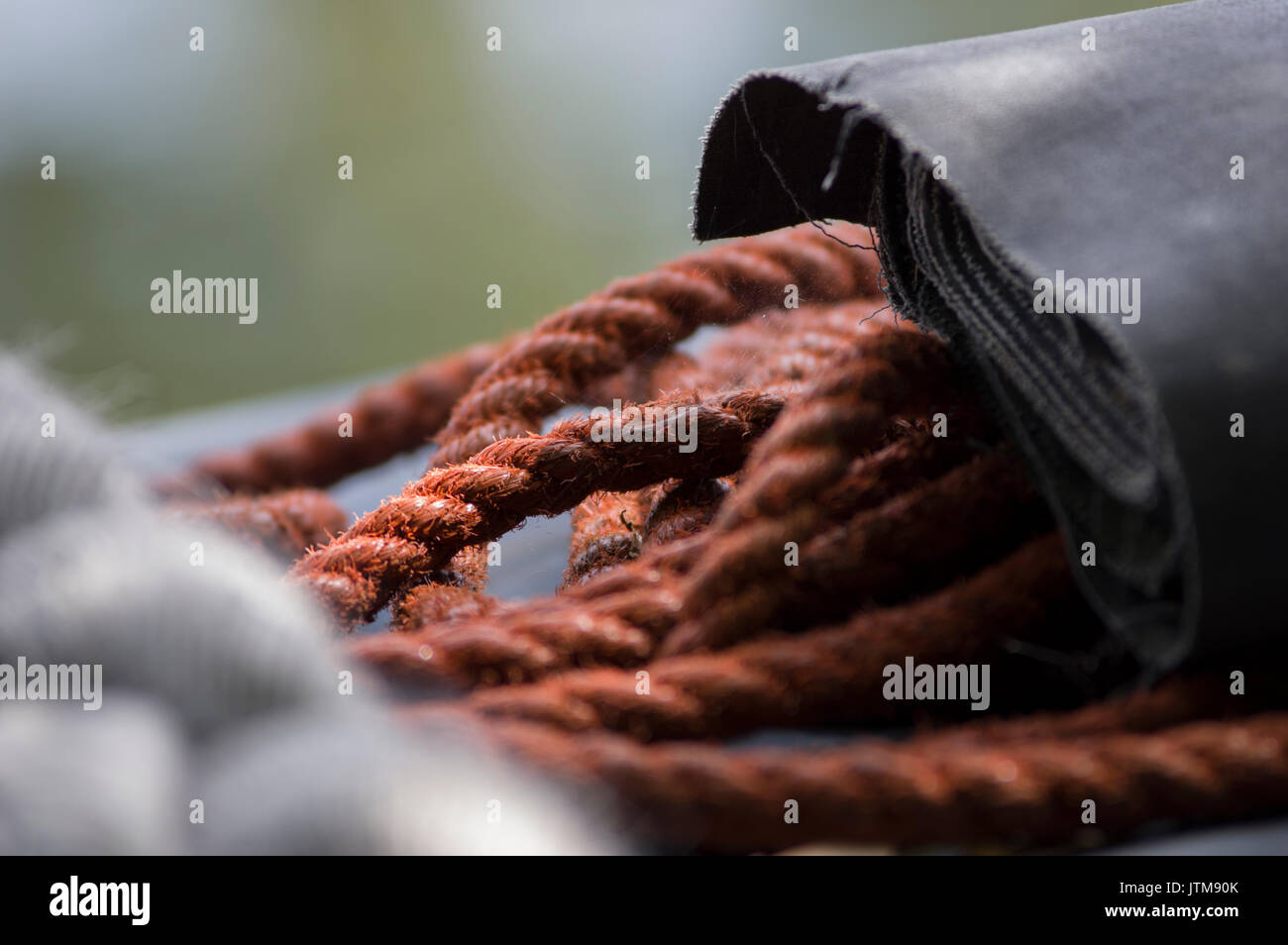 Rops on a boat in a marina - Stock Image