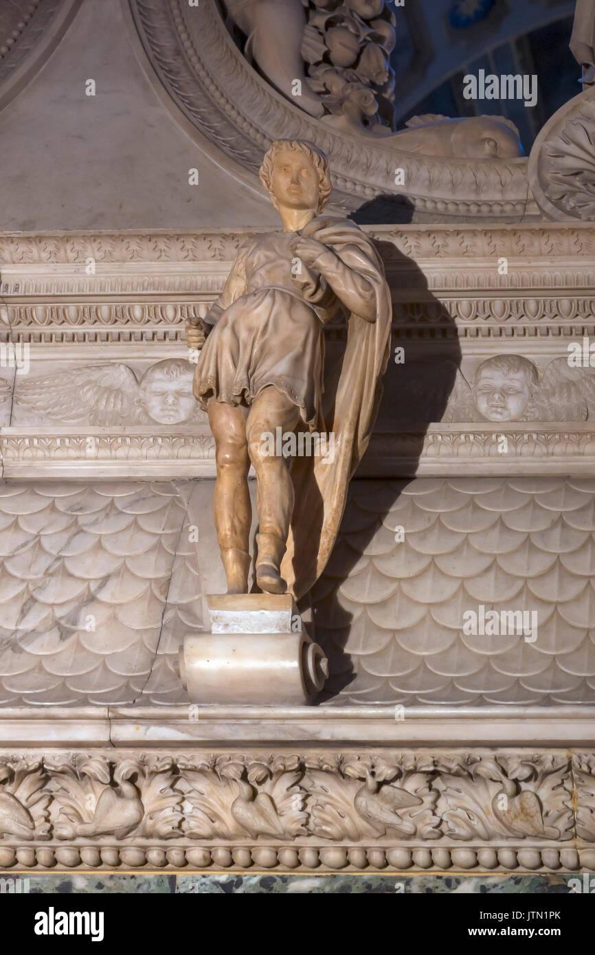 St Proculus, by Michelangelo, 1494, Ark of Saint Dominic, Basilica of San Domenico, Bologna, Emilia-Romagna region, - Stock Image