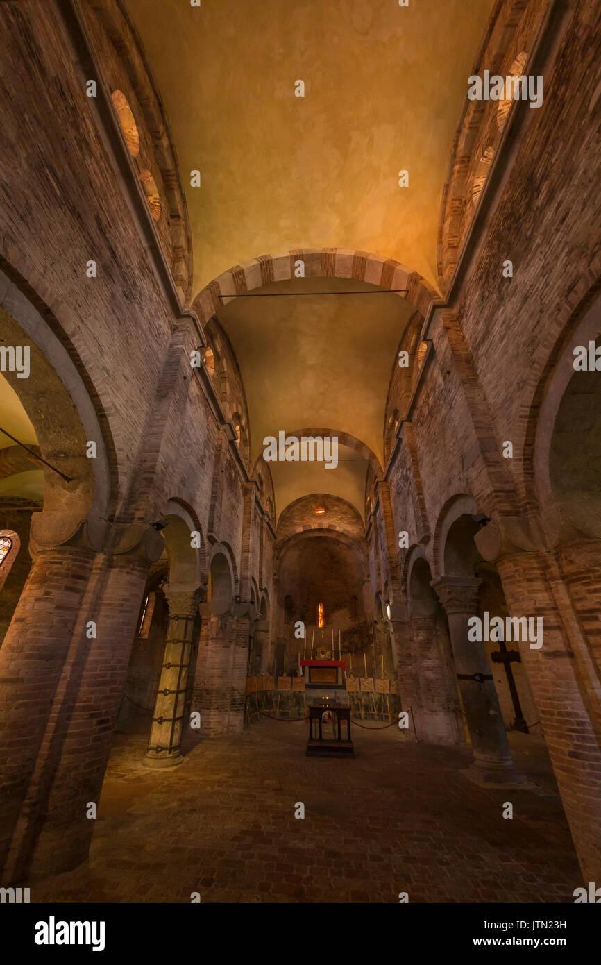 Romanesque nave,Basilica of Santo Stefano, Sette Chiese, Seven Churches, Bologna, Emilia-Romagna region, Italy - Stock Image