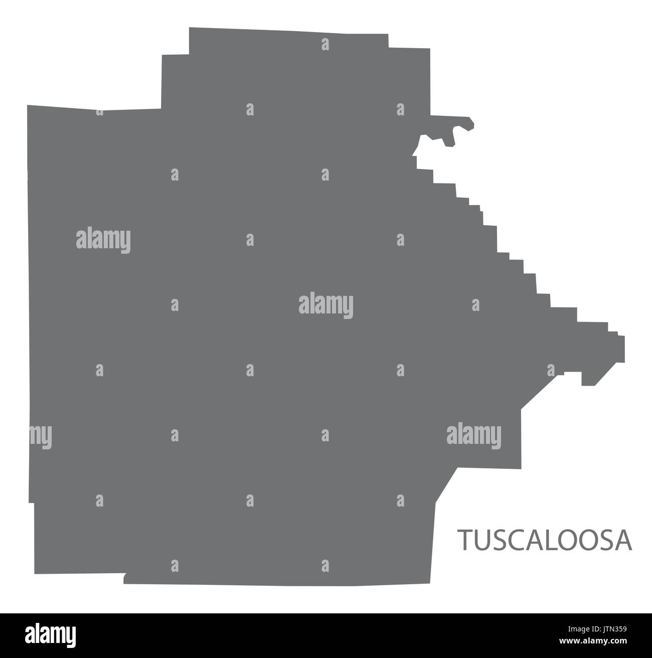 Tuscaloosa county map of Alabama USA grey illustration silhouette - Stock Image