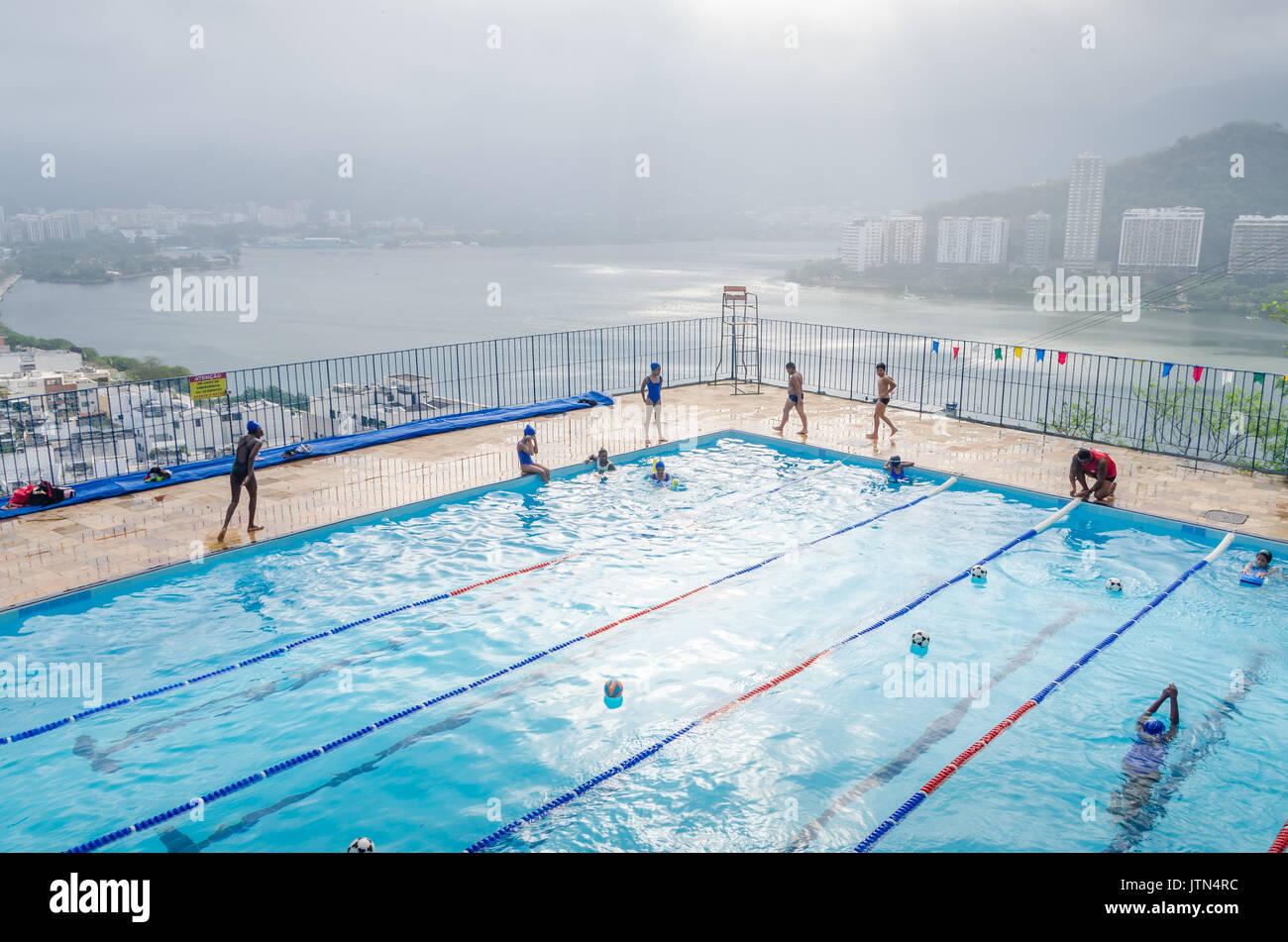 Swimming pool at Pavao Pavaozinho favela in Rio de Janeiro, Brazil Stock Photo