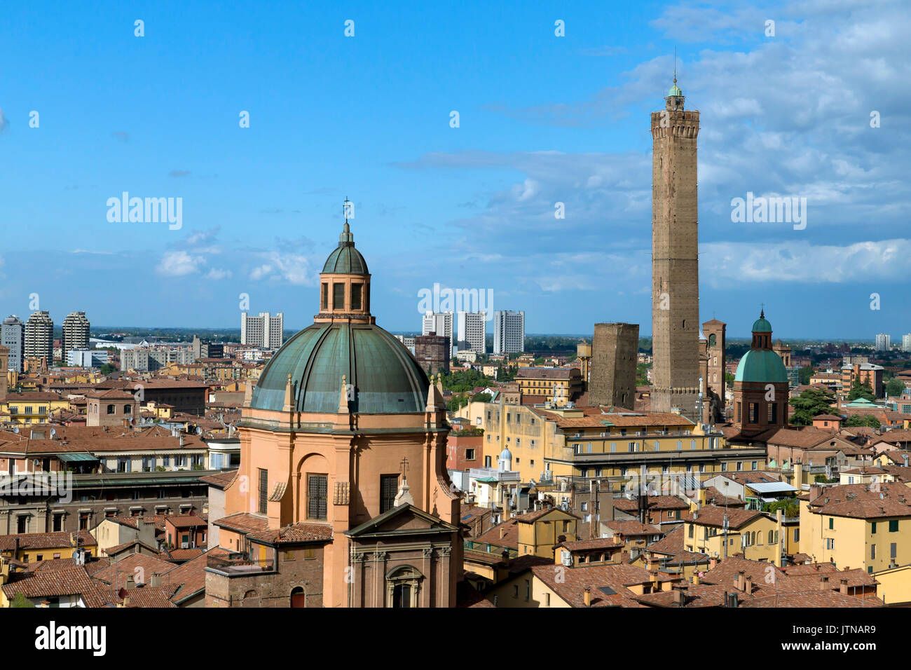 Rooftop view of 2 towers, Bologna, Emilia-Romagna region, Italy - Stock Image