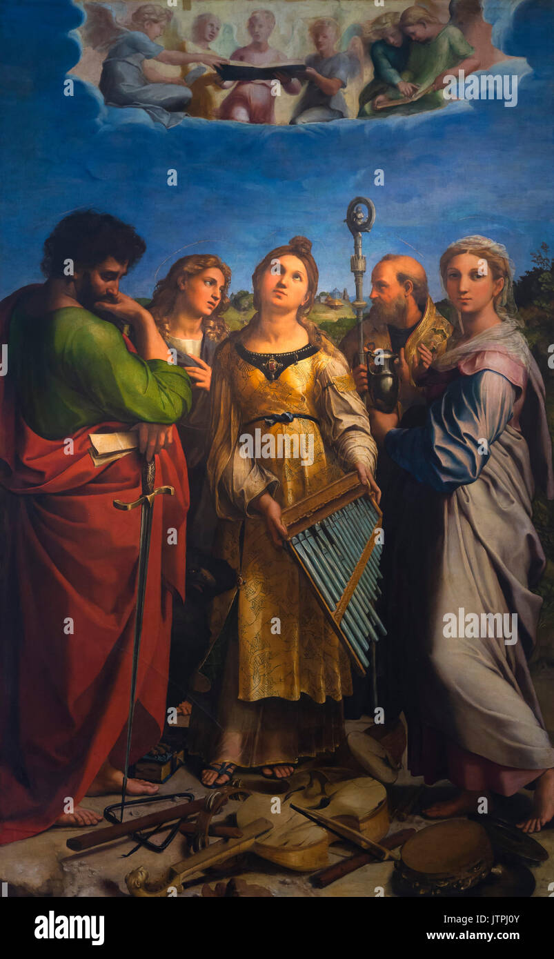 The Ecstasy of St. Cecilia,  by Raphael, circa 1516-1517, National Art Gallery of Bologna, Pinacoteca Nazionale - Stock Image