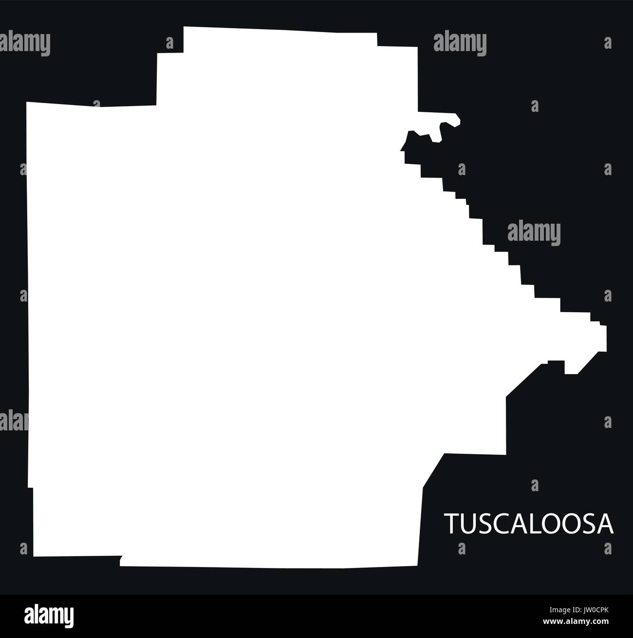 Tuscaloosa county map of Alabama USA black inverted illustration - Stock Image