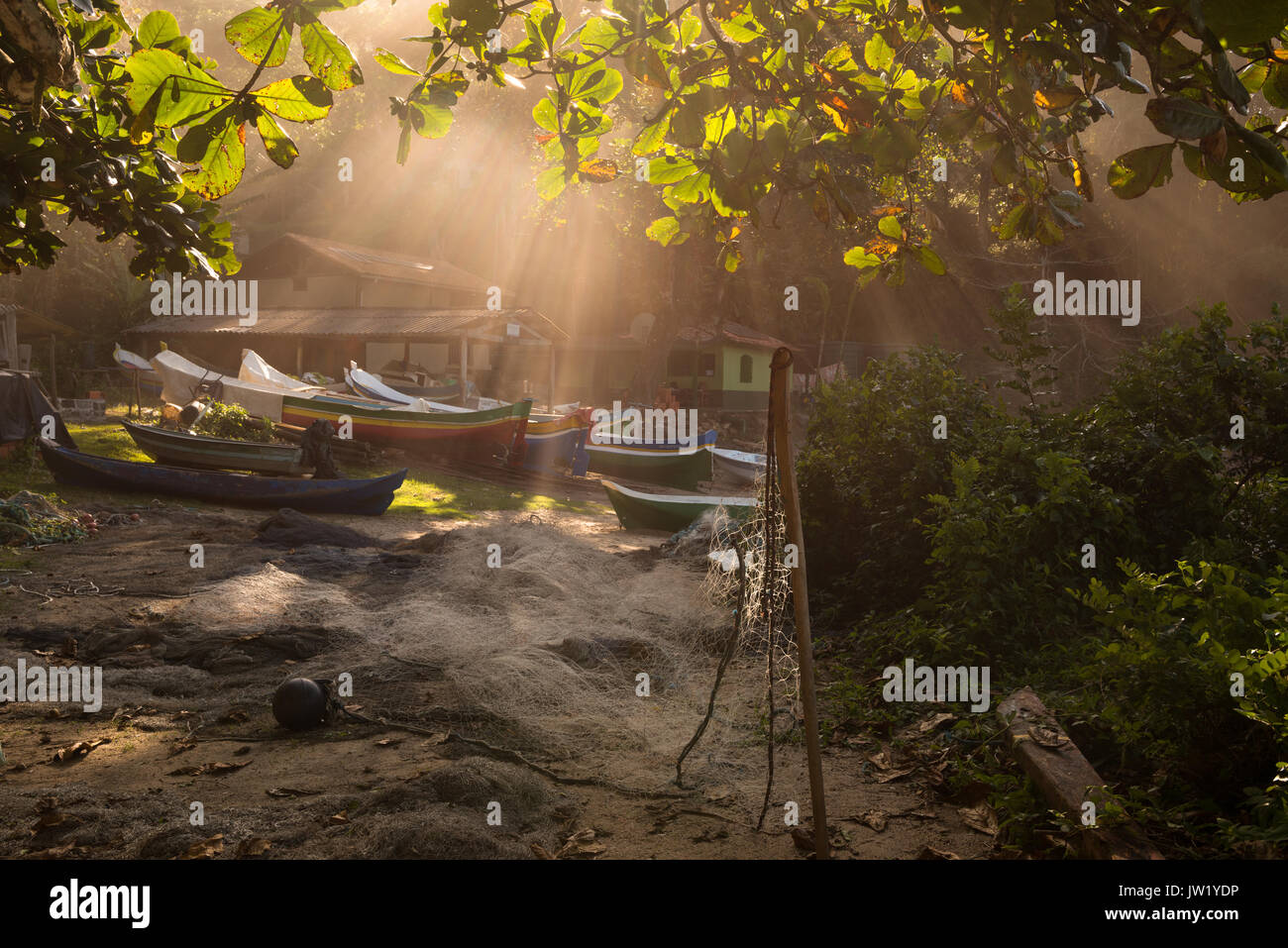 Traditional fishing outpost in Ilhabela, Brazil Stock Photo