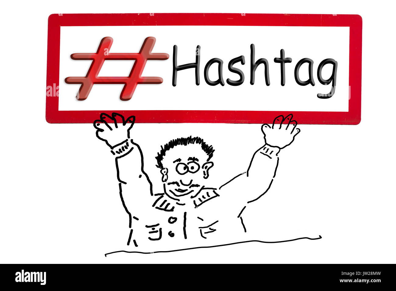 Hand drawing of an advertising figure, comic figure or stroke drawing. Cartoon character holding a sign above his - Stock Image