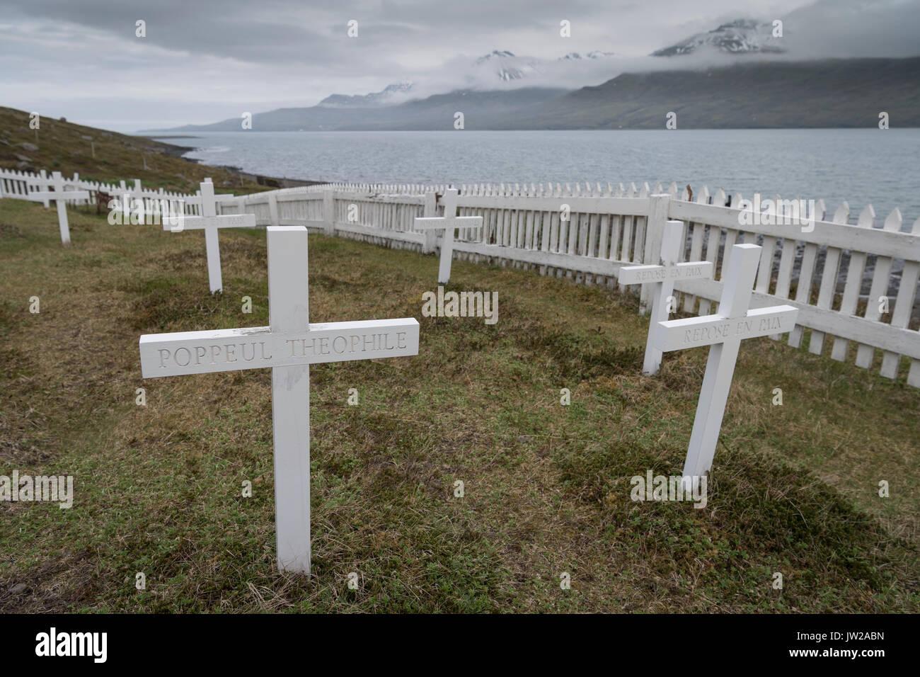Grave crosses, cemetery for French sailors, Fáskrúðsfjörður, East Fjords, East Island, - Stock Image