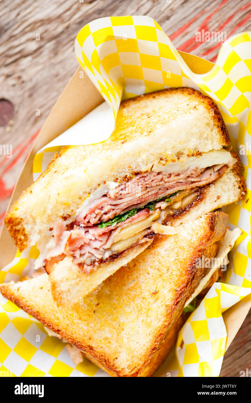 grilled meat sandwich - Stock Image