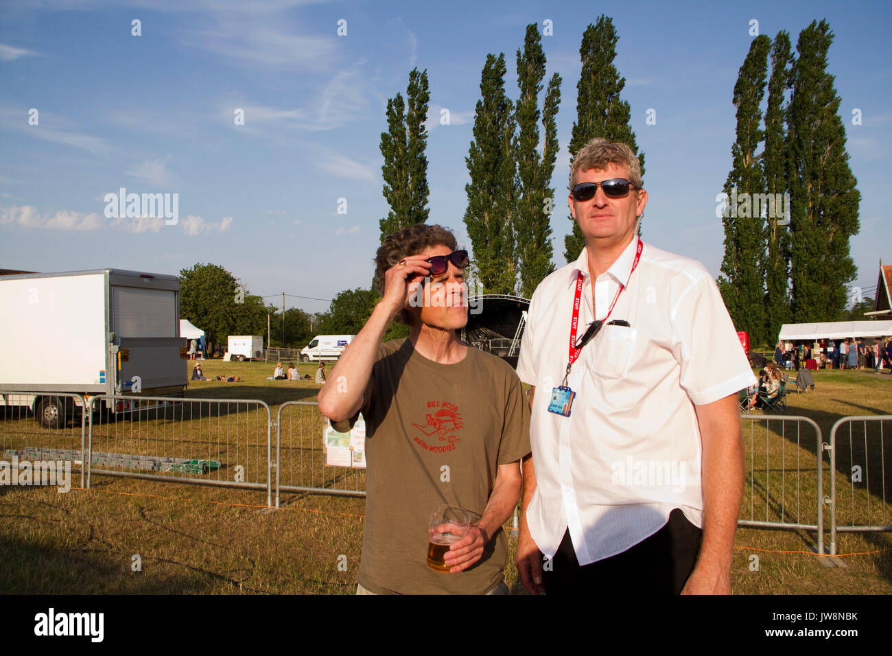 Maverick Americana music festival promoter Paul Spencer (left)  with security manager - Stock Image