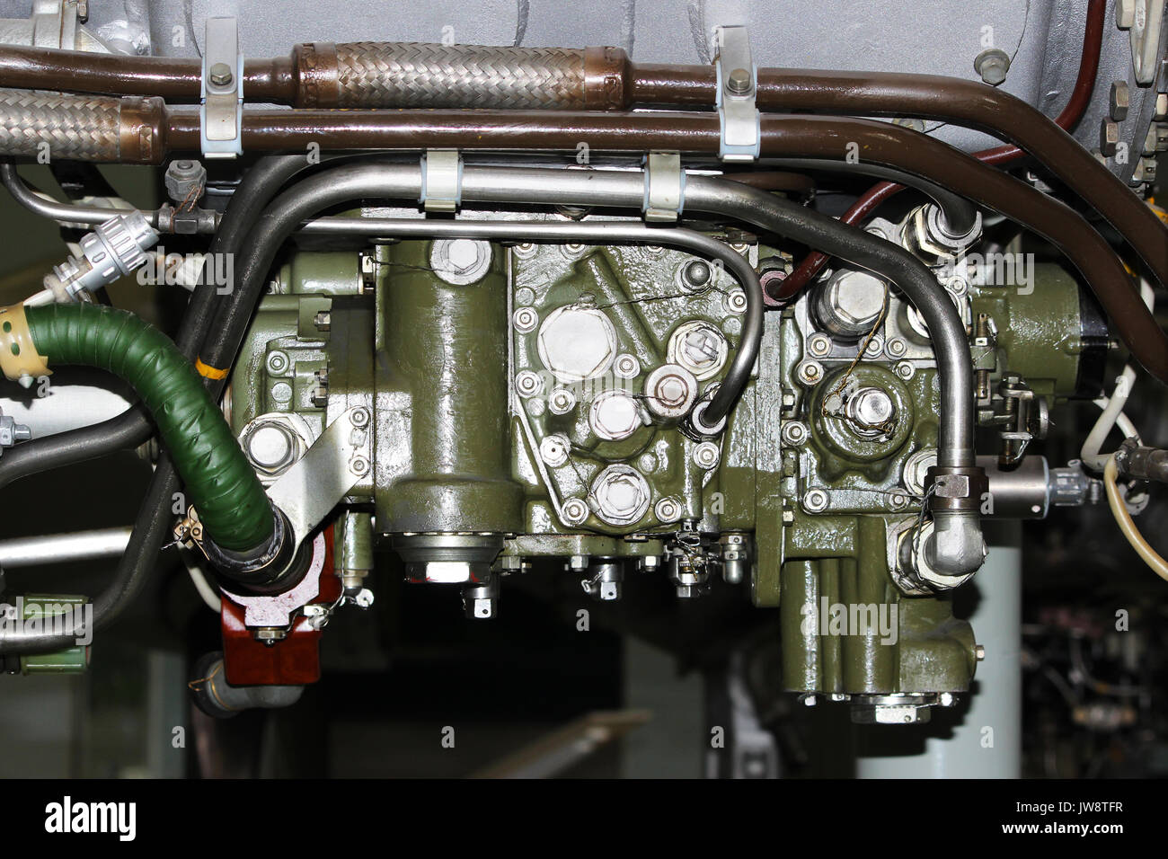 the internal structure of the aircraft engine, army aviation, military aircraft and aerospace industry - Stock Image