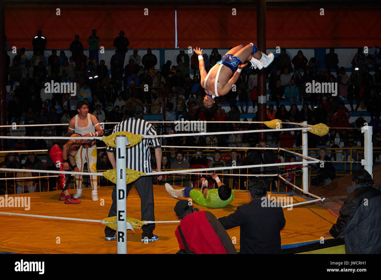Male wrestlers at the Wrestling Cholitas, El Alto, La Paz, Bolivia, South America - Stock Image