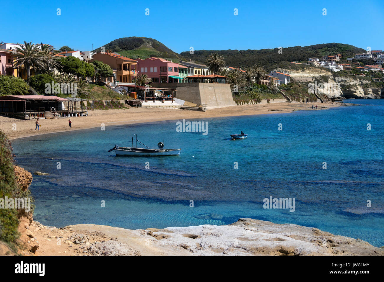 S'Archittu - a small coastal town near Oristano on the west coast of Sardinia, Italy. The town takes its name - Stock Image